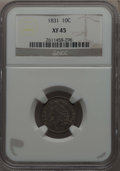 Bust Dimes: , 1831 10C XF45 NGC. NGC Census: (11/238). PCGS Population: (45/297).Mintage 771,350. ...