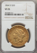 Liberty Double Eagles: , 1864-S $20 VF25 NGC. NGC Census: (6/839). PCGS Population: (6/686). Mintage 793,660. ...