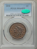 Large Cents: , 1838 1C MS64 Brown PCGS. CAC. PCGS Population: (122/63). NGC Census: (90/76). MS64. Mintage 6,370,200. ...