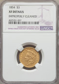 Three Dollar Gold Pieces, 1854 $3 -- Improperly Cleaned -- NGC Details. XF. NGC Census: (85/3976). PCGS Population: (92/3277). XF40. Mintage 138,618....