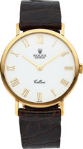 Timepieces:Wristwatch, Rolex Ref. 4112 Gent's Gold Cellini With Enamel Dial. ...
