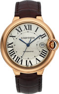 Timepieces:Wristwatch, Cartier Gent's Rose Gold Ballon Bleu Automatic Ref. 3767. ...