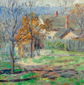 Fine Art - Painting, American:Contemporary   (1950 to present)  , Laura van Pappelendam (American, 1883-1974). ColoradoCottage, 1917. Oil on canvas. 17-5/8 x 17-5/8 inches (44.8 x44.8 ...