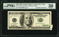Error Notes:Attached Tabs, Butterfly Fold Error Fr. 2175-B $100 1996 Federal Reserve Note. PMGVery Fine 30.. ...