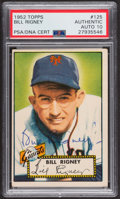 Autographs:Sports Cards, Signed 1952 Topps #125 Bill Rigney PSA/DNA Auto Grade Gem MT 10.. ...
