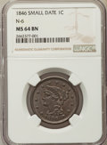 Large Cents, 1846 1C Small Date, N-6, R.1, MS64 Brown NGC. NGC Census: (7/8). PCGS Population: (2/1). MS64. Mintage 4,120,800. ...