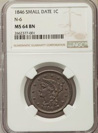 1846 1C Small Date, N-6, R.1, MS64 Brown NGC. NGC Census: (7/8). PCGS Population: (2/1). MS64. Mintage 4,120,800. ...(PC...