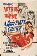 "Movie Posters:Comedy, A Lady Takes a Chance (RKO, 1943). One Sheet (27"" X 41""). Comedy.. ..."
