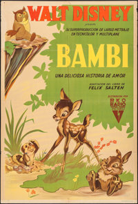 """Bambi (RKO, 1942). Argentinean One Sheet (29"""" X 43""""). Animation"""
