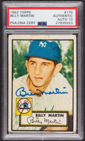 Autographs:Sports Cards, Signed 1952 Topps #175 Billy Martin PSA/DNA Auto Grade Gem MT 10. ...