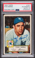 Autographs:Sports Cards, Signed 1952 Topps #191 Yogi Berra PSA/DNA Auto Grade Gem MT 10. ...