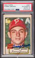 Autographs:Sports Cards, Signed 1952 Topps #281 Tommy Brown PSA/DNA Auto Grade Gem MT 10.....