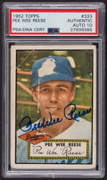 Autographs:Sports Cards, Signed 1952 Topps #333 Pee Wee Reese PSA/DNA Auto Grade Gem MT 10.. ...