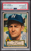 Autographs:Sports Cards, Signed 1952 Topps #2 James E. Runnels (Red) PSA/DNA Auto Grade Mint 9. ...