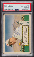Autographs:Sports Cards, Signed 1952 Topps #8 Fred Marsh (Red) PSA/DNA Auto Grade Mint 9. ...