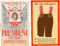Political:Small Paper (1896-present), Anti-Woman's Suffrage: Two Terrific Satirical Postcards. ... (Total: 2 Items)