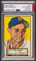 Autographs:Sports Cards, Signed 1952 Topps #22 Dom DiMaggio (Red) PSA/DNA Auto Grade Mint 9. ...