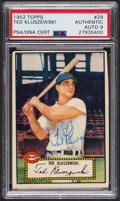 Autographs:Sports Cards, Signed 1952 Topps #29 Ted Kluszewski (Red) PSA/DNA Auto Grade Mint9. ...