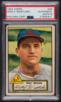 Autographs:Sports Cards, Signed 1952 Topps #38 Wally Westlake (Red) PSA/DNA Auto Grade Mint9. ...