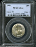 Washington Quarters: , 1932 25C MS66 PCGS. A superior example of this desirablefirst-year-of-issue example, with strong central details andattra...
