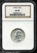 Washington Quarters: , 1932-D 25C AU58 NGC. A pleasing key date example with off-whitesurfaces and no noticeable marks. High-end for the grade ...