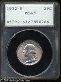 Washington Quarters: , 1932-S 25C MS63 PCGS. A carefully preserved example of this scarcekey date in the Washington Quarter series. Satiny and li...