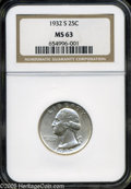 Washington Quarters: , 1932-S 25C MS63 NGC. White with flashy luster and several smallmarks on the devices....
