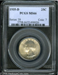 Washington Quarters: , 1935-D 25C MS66 PCGS. Early Denver issues from this series becomeexponentially scarce as the grades rise. This piece is ex...