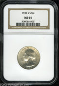 Washington Quarters: , 1936-D 25C MS64 NGC. Well struck with satiny, smooth, virtuallyuntoned surfaces that are blemish-free on the reverse, and ...