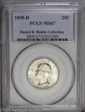 Washington Quarters: , 1939-D 25C MS67 PCGS. Ex: Daniel D. Biddle Collection. Mostlybrilliant except for isolated areas of deep gold and blue ton...
