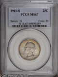 Washington Quarters: , 1941-S 25C MS67 PCGS. Highly lustrous and well struck (except onthe tops of LIBERTY), and nearly pristine, with speckled t...