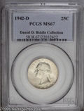Washington Quarters: , 1942-D 25C MS67 PCGS. Ex: Daniel D. Biddle Collection. A coating ofmilky-opaque toning blankets the obverse in a somewhat ...