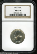 Washington Quarters: , 1943-S 25C MS67 S NGC. The obverse is nearly brilliant andmoderately prooflike, which is likely the reason NGC awarded th...