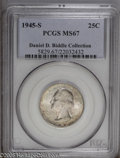 Washington Quarters: , 1945-S 25C MS67 PCGS. Daniel D. Biddle Collection. A light coatingof speckled bluish-gray and amber toning graces both sid...
