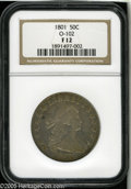 Early Half Dollars: , 1801 50C Fine 12 NGC. O-102, High R.4. The left base of the first Ain AMERICA is embedded in the eagle's wing feathers on ...