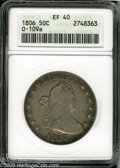Early Half Dollars: , 1806 50C Pointed 6, No Stem XF40 ANACS. O-109a, R.4. Duskyforest-green and gunmetal-gray colors blend throughout the borde...