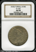 Bust Half Dollars: , 1818/7 50C Small 8 AU58 NGC. O-102, R.2. The shimmering luster isonly broken on the fields and portrait. A crisply struck ...