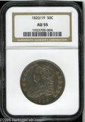 Bust Half Dollars: , 1820/19 50C Curl Base 2 AU55 NGC. O-102, R.1. Any 1820 Half Dollarenjoys great popularity as an early issue with one of th...