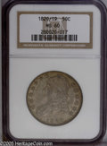 Bust Half Dollars: , 1820/19 50C Curl Base 2 MS60 NGC. O-102, R.1. Although Overton-101also exhibits an 1820/19 overdate, the 2 in the date for...
