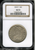 Bust Half Dollars: , 1822/1 50C AU53 NGC. O-101, R.1. Light gray color with goodremaining luster. Well struck, save for softness on Liberty's h...
