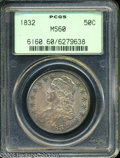 Bust Half Dollars: , 1832 50C Small Letters MS60 PCGS. O-119, Low R.4. Attributed bystripes 4, 5, and 6 being partially filled, along with the ...