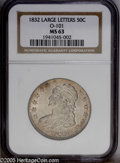 Bust Half Dollars: , 1832 50C Large Letters MS63 NGC. O-101, R.1. A busy example withuntoned centers and burnt-orange color along much of the p...