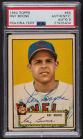Autographs:Sports Cards, Signed 1952 Topps #55 Ray Boone (Red) PSA/DNA Auto Grade Mint 9. ...