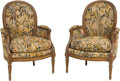 Furniture : French, A Pair of Louis XV-Style Needlepoint-Upholstered Bergères. 38-1/4 hx 26 w x 24 d inches (97.2 x 66.0 x 61.0 cm). ... (Total: 2 Items)