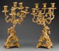 Decorative Arts, French:Lamps & Lighting, A Pair of Louis XVI-Style Gilt Bronze Six-Light Figural Candelabra,19th century. 24-1/2 inches high (62.2 cm). ... (Total: 2 Items)
