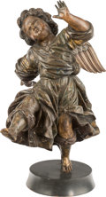 Decorative Arts, Continental:Other , A Pair of Spanish Baroque-Style Carved Wooden Putti Figures, 18thcentury. 28-1/2 inches high (72.4 cm) (each, approximate)...(Total: 2 Items)