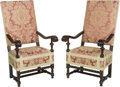 Furniture , A Pair of Louis XIV-Style Upholstered Mahogany Throne Armchairs. 51 h x 27 w x 27-1/2 d inches (129.5 x 68.6 x 69.9 cm). ... (Total: 2 Items)
