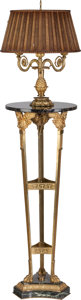 Decorative Arts, French:Lamps & Lighting, An Empire-Style Gilt Bronze and Marble Three-Light Torchère, circa1910. 73 inches high (185.4 cm) (including hardware). ...