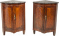 Furniture : French, A Pair of Louis XVI-Style Inlaid Corner Cabinets with Marb...