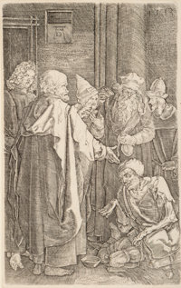 After Albrecht Dürer St. Peter and St. John Healing the Cripple (from The Engraved Passion series) (rev